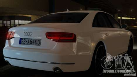 Audi A8 (D4, Typ 4H) 2010 Alpha para GTA 4 traseira esquerda vista