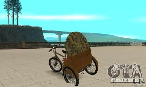Manual Rickshaw v2 Skin2 para GTA San Andreas traseira esquerda vista