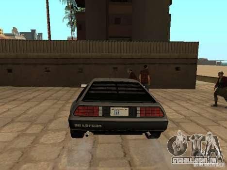 DeLorean DMC-12 1982 para GTA San Andreas traseira esquerda vista