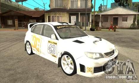 Subaru Impreza WRX STi DC Shoes de DIRT 2 para GTA San Andreas vista traseira