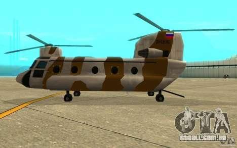 GTA SA Chinook Mod para GTA San Andreas traseira esquerda vista