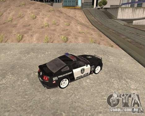 Ford Shelby GT500 2010 Police para GTA San Andreas esquerda vista