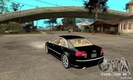 Audi A8 de transportadora 3 para GTA San Andreas traseira esquerda vista