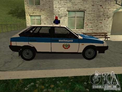 Polícia de 2109 VAZ para GTA San Andreas esquerda vista