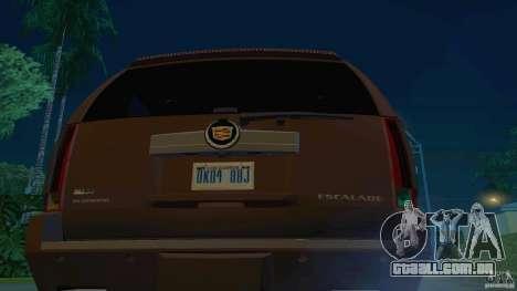 Cadillac Escalade ESV 2012 para GTA San Andreas traseira esquerda vista