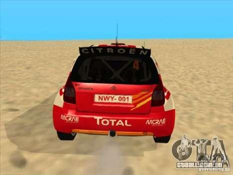 Citroen Rally Car para GTA San Andreas traseira esquerda vista