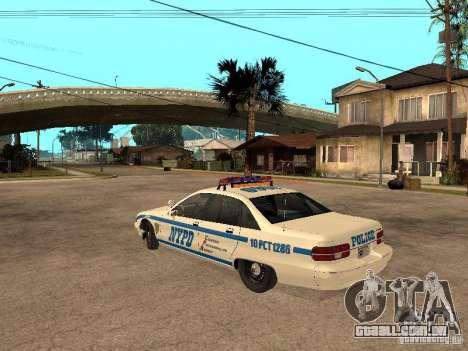 NYPD Chevrolet Caprice Marked Cruiser para GTA San Andreas esquerda vista