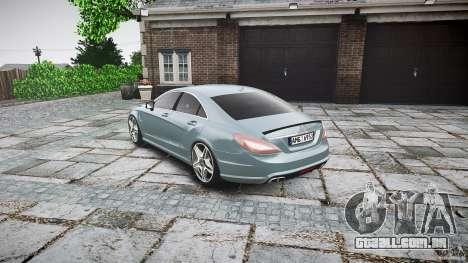 Mercedes Benz CLS 63 AMG 2012 para GTA 4 traseira esquerda vista