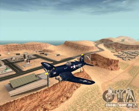 Aereo Corsair F4U1D para GTA San Andreas vista traseira