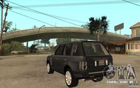 Range Rover Supercharged 2008 para GTA San Andreas traseira esquerda vista