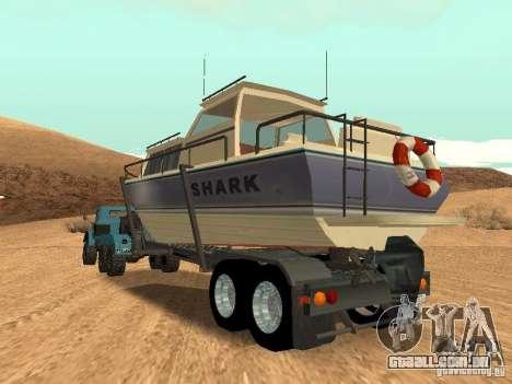 Boat Trailer para GTA San Andreas vista interior