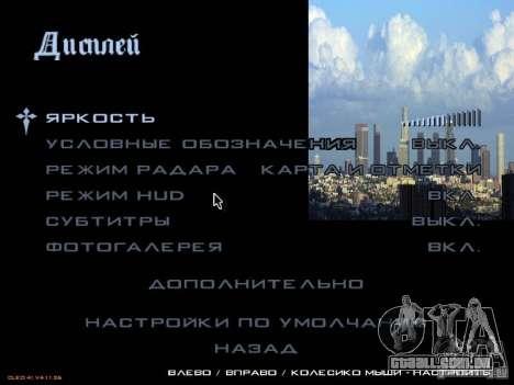 Novo menu no estilo de Los Angeles para GTA San Andreas quinto tela