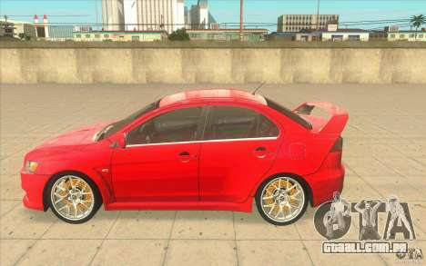 Mitsubishi Lancer Evolution X MR1 para GTA San Andreas esquerda vista