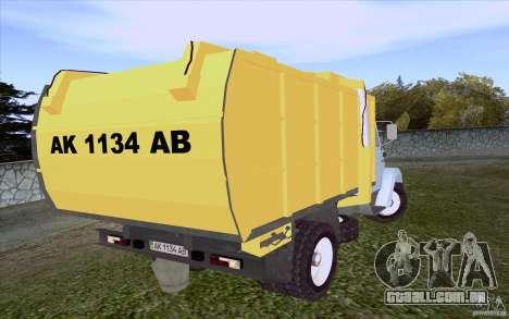 Caminhão de lixo ZIL 4331 para GTA San Andreas traseira esquerda vista