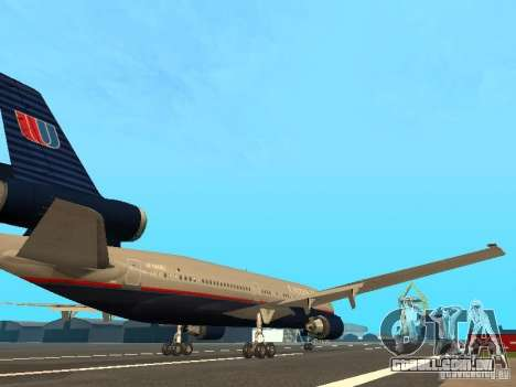 McDonell Douglas DC10 United Airlines para GTA San Andreas vista direita
