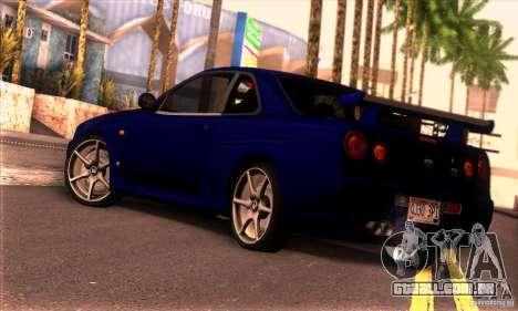 Nissan Skyline R34 GT-R Tunable para GTA San Andreas esquerda vista
