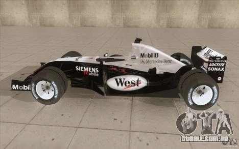 McLaren Mercedes MP 4-19 para GTA San Andreas esquerda vista