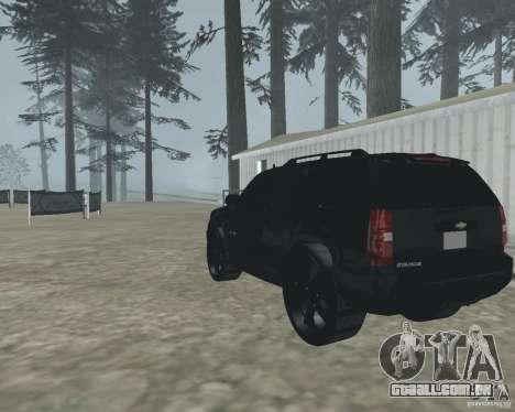 Chevrolet Tahoe BLACK EDITION para GTA San Andreas traseira esquerda vista
