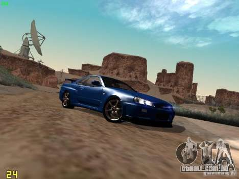 Nissan Skyline GT-R R34 V-Spec para GTA San Andreas traseira esquerda vista