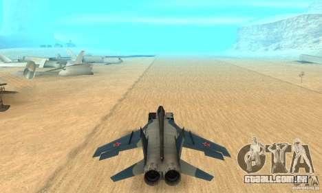 MiG-31 Foxhound para GTA San Andreas vista interior