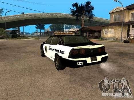 Chevrolet Impala Police 2003 para GTA San Andreas esquerda vista