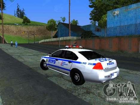 Chevrolet Impala NYPD para GTA San Andreas vista direita