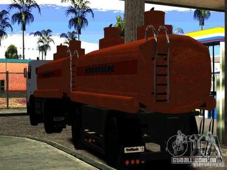 MAZ 533702 reboque caminhão para GTA San Andreas traseira esquerda vista