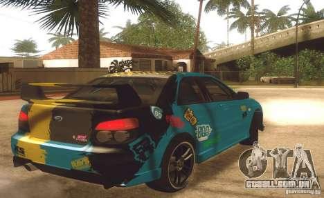 Subaru Impreza WRX STI Futou Battle para GTA San Andreas traseira esquerda vista