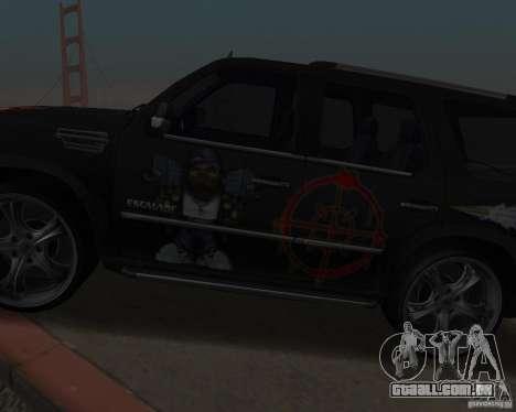 Cadillac Escalade para GTA San Andreas vista traseira