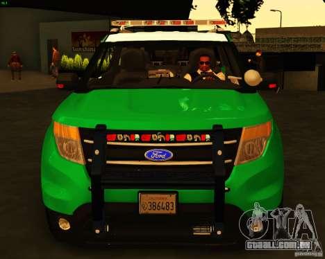 Ford Explorer 2011 VCPD Police para GTA San Andreas vista direita