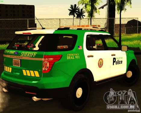 Ford Explorer 2011 VCPD Police para GTA San Andreas esquerda vista
