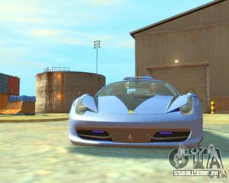 Ferrari 458 Italia Police para GTA 4 esquerda vista