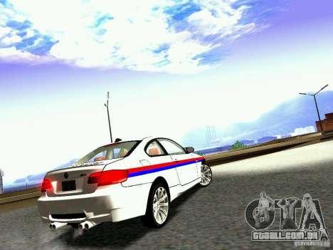 BMW M3 MotoGP SafetyCar para GTA San Andreas vista direita