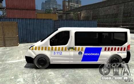 Opel Vivaro Hungarian Police Van para GTA 4 esquerda vista