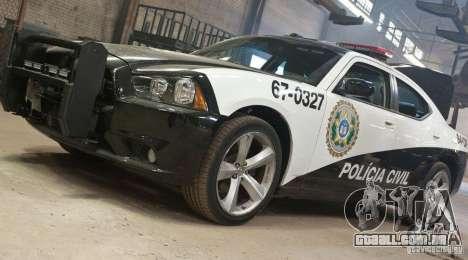 Dodge Charger Policia Civil from Fast Five para GTA San Andreas vista traseira
