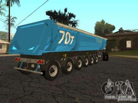 Doze-roda semi-reboque-basculante TONAR 95231 para GTA San Andreas traseira esquerda vista