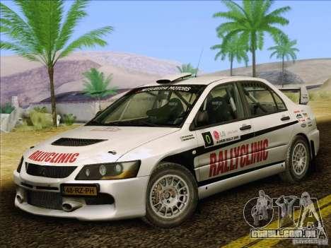 Mitsubishi Lancer Evolution IX Rally para GTA San Andreas interior