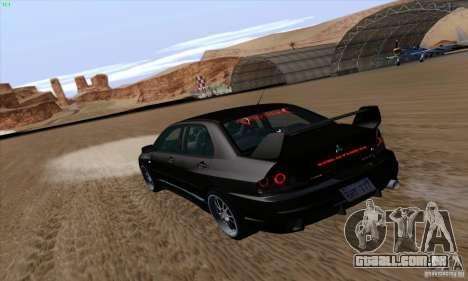 Mitsubishi Lancer EVO VIII BlackDevil para GTA San Andreas esquerda vista