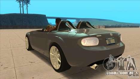 Mazda MX5 Miata Superlight 2009 V1.0 para GTA San Andreas traseira esquerda vista