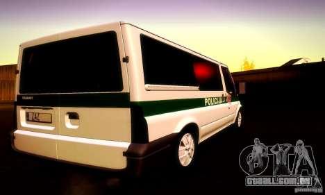Ford Transit Policija para GTA San Andreas vista interior