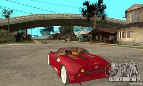 Spyker C8 Spyder para GTA San Andreas traseira esquerda vista