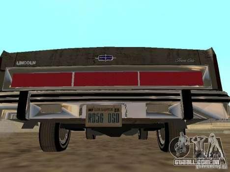 Lincoln Town Car 1986 para GTA San Andreas vista direita
