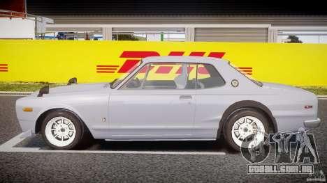 Nissan Skyline 2000 GT-R Drift Tuning para GTA 4 esquerda vista