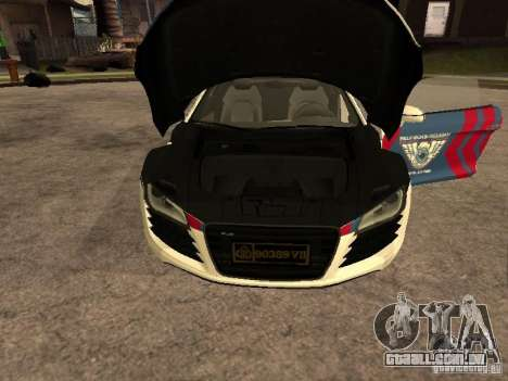 Audi R8 Police Indonesia para GTA San Andreas vista direita