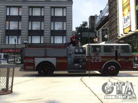 Fire Truck FDNY para GTA 4 traseira esquerda vista