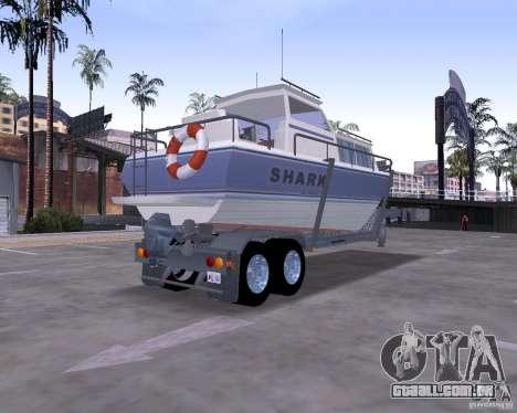 Boat Trailer para GTA San Andreas esquerda vista