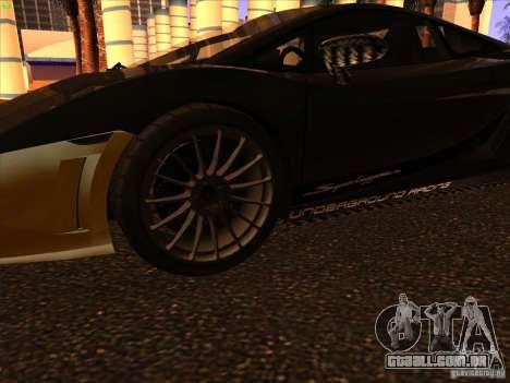 Lamborghini Gallardo Underground Racing para GTA San Andreas vista traseira