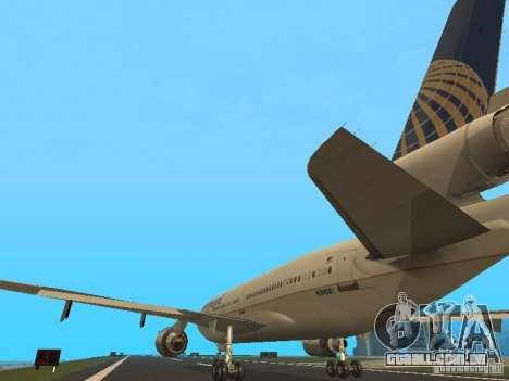 McDonell Douglas DC10 Continental Airlines para GTA San Andreas traseira esquerda vista