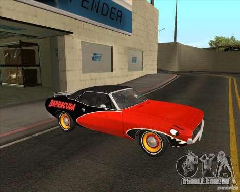 Plymouth Cuda Ragtop 1970 para GTA San Andreas vista traseira
