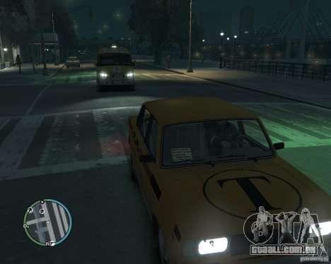 Táxi de 2105 VAZ para GTA 4 traseira esquerda vista